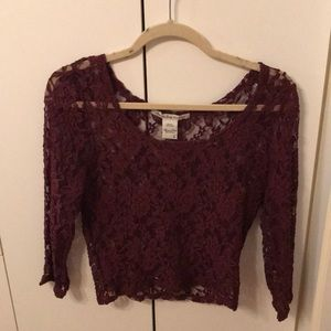 Red lace crop top